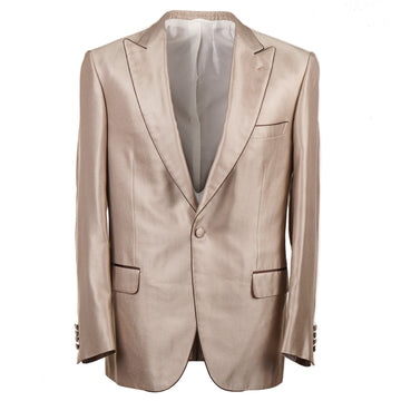 Brioni Gold Silk Dinner Jacket with Peak Lapels