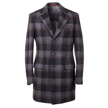 Isaia Slim-Fit Layered Plaid Wool Overcoat