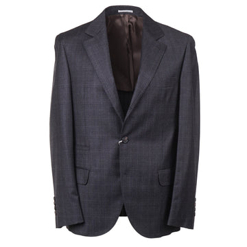 Brunello Cucinelli Gray Check Wool Suit