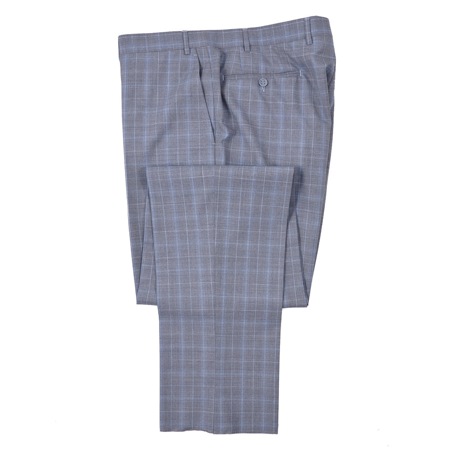 Canali Gray-Sky Blue Check Wool Suit
