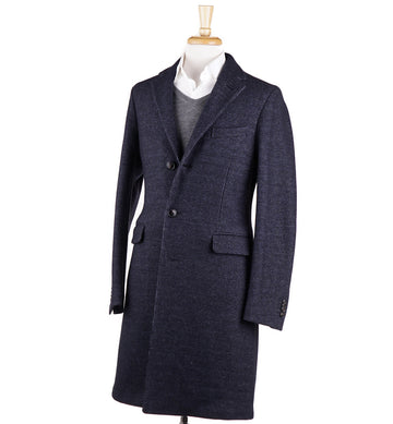 Boglioli Midnight Blue Patterned Wool 'K Jacket' Overcoat