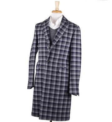 Boglioli Gray-Navy Check Wool 'K Jacket' Overcoat