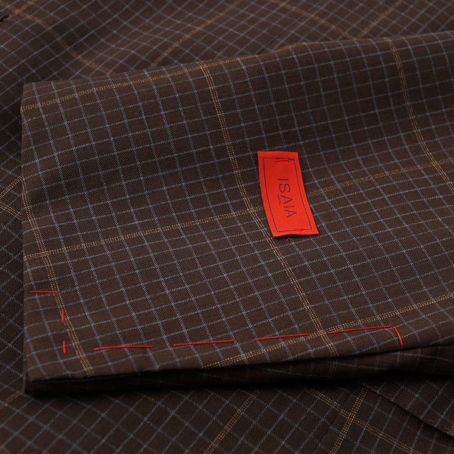 Isaia Brown Check 'Super 130s Travel' Wool Suit