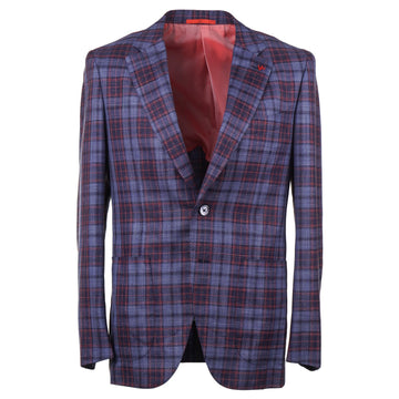 Isaia Layered Check Wool-Silk-Linen Sport Coat