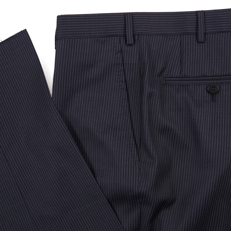 Isaia Woven Navy Stripe Wool Suit