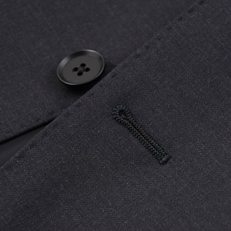 Isaia Solid Dark Charcoal Gray Wool Suit