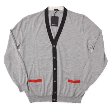 Kiton Cashmere-Silk Cardigan Sweater with Contrast Details