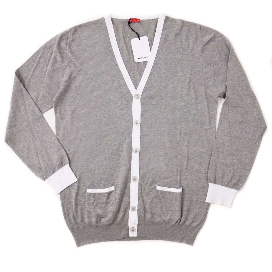 Kiton Lightweight Cotton Cardigan Sweater in Gray