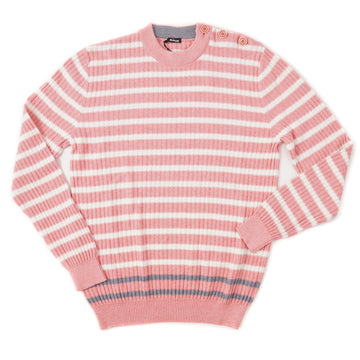 Kiton Cotton-Cashmere Sweater in Coral Pink Stripe