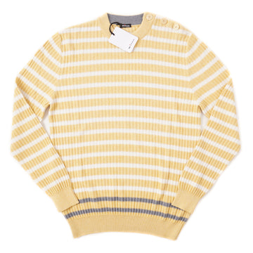Kiton Cotton-Cashmere Sweater in Light Yellow Stripe