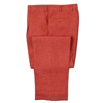 Brioni Classic-Fit Red Linen Dress Pants
