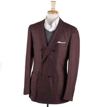 Brunello Cucinelli Burgundy Houndstooth Wool Sport Coat