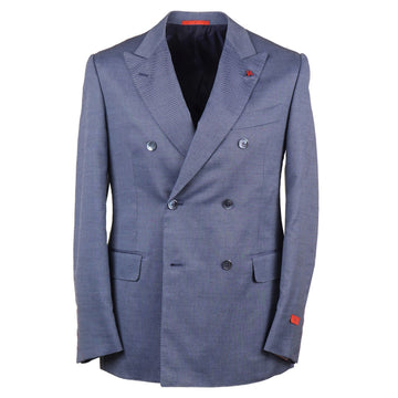 Isaia Blue Birdseye Wool Blend Sport Coat