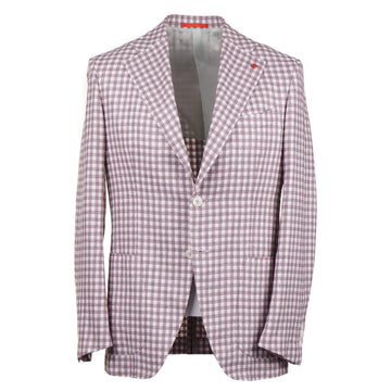 Isaia Layered Check Silk-Linen-Wool Sport Coat