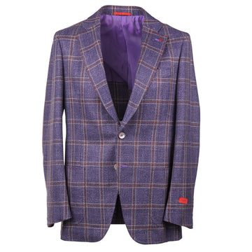 Isaia Windowpane Wool-Silk-Linen Sport Coat