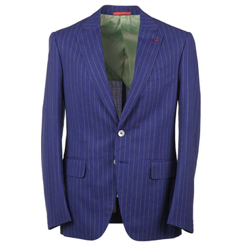 Isaia Slim-Fit Royal Blue Striped Wool Suit