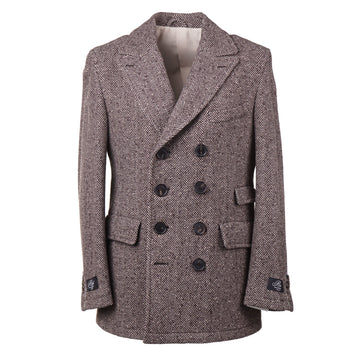 Belvest Herringbone Tweed Wool Pea Coat - Top Shelf Apparel