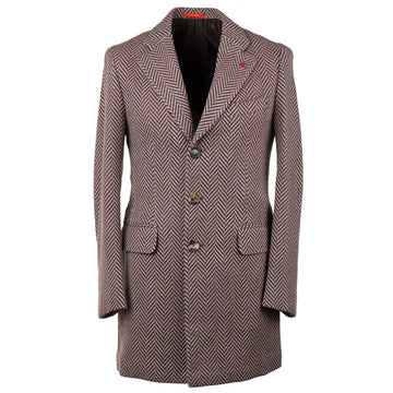 Isaia Soft Herringbone Wool-Cashmere Overcoat