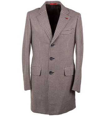 Isaia Soft Houndstooth Check Wool Overcoat