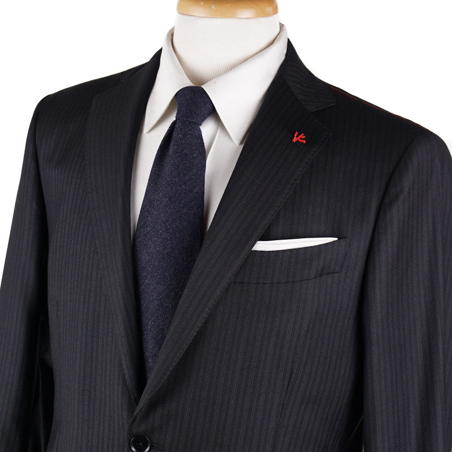 Isaia Black and Gray Subtle Striped Wool Suit