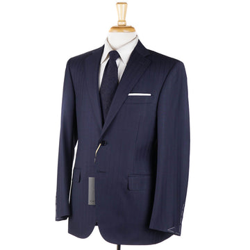 Canali Blue and Plum Stripe Wool Suit