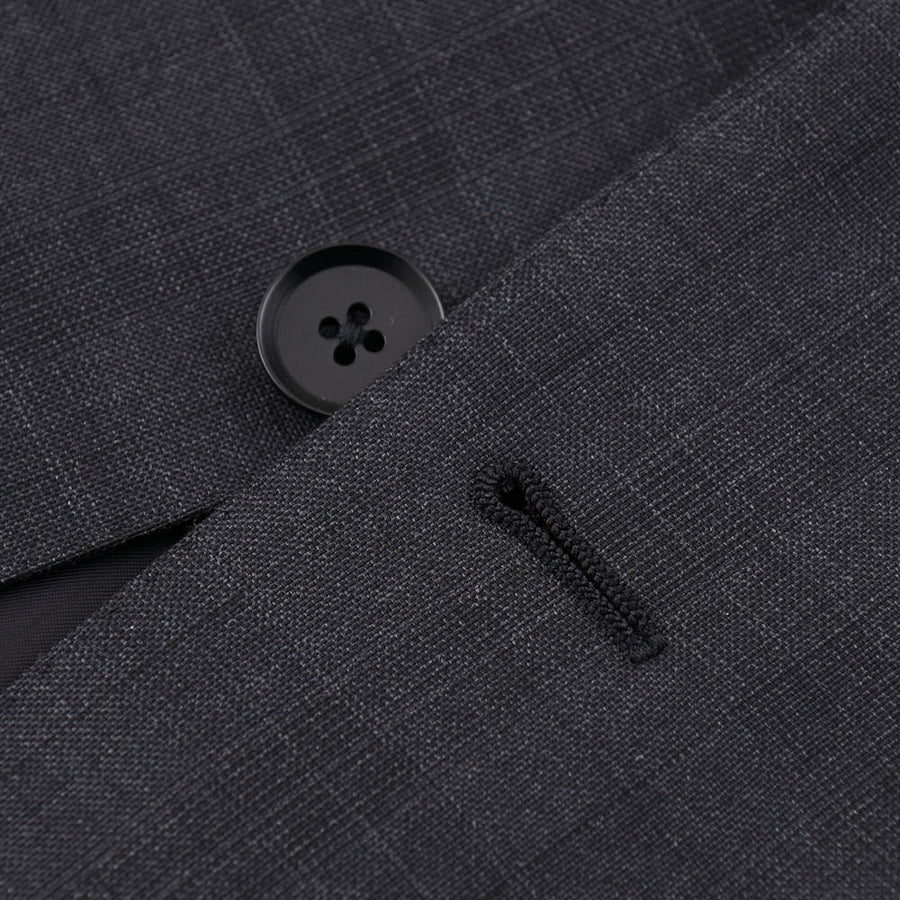 Isaia Charcoal Gray Check Wool Suit