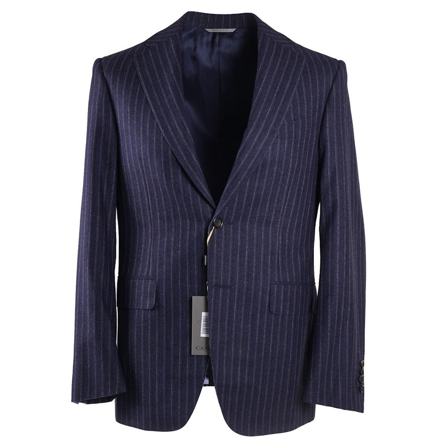 Canali Chalk Stripe Flannel Wool Suit