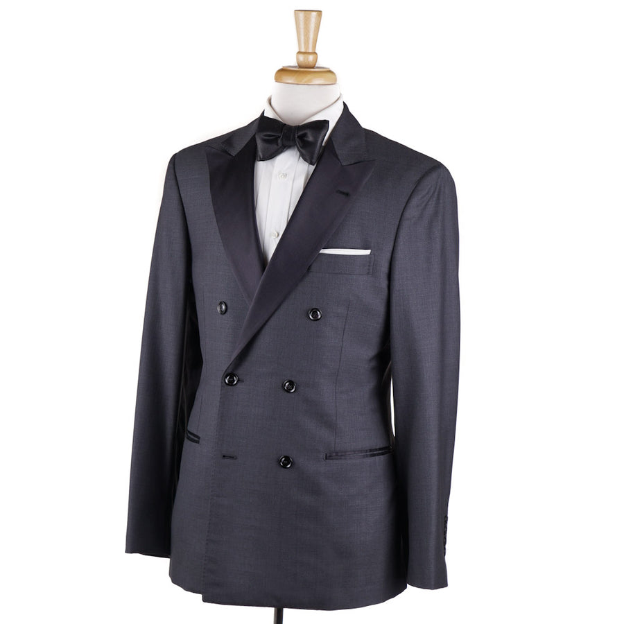 Brunello Cucinelli Gray Double-Breasted Dinner Jacket