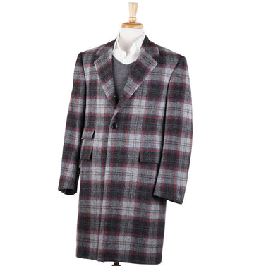 Oxxford Gray Plaid Wool-Cashmere Overcoat