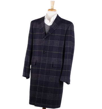 Oxxford Navy Check Wool-Cashmere Overcoat