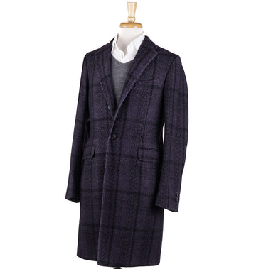 Boglioli Purple Check Wool 'K Jacket' Overcoat