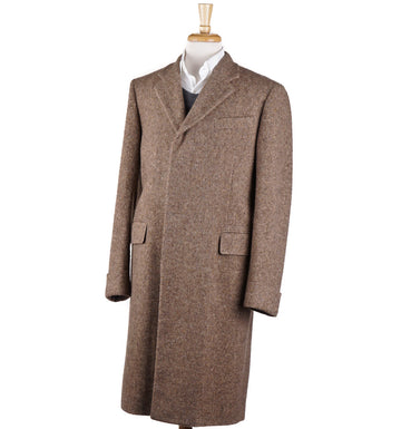 Boglioli Tan Herringbone Soft Wool Overcoat