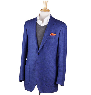 Kiton Blue Houndstooth Check Silk-Cashmere Sport Coat