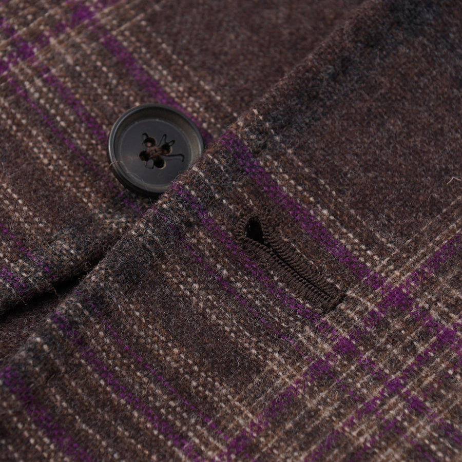 Isaia Brown and Purple Check Wool-Cashmere Sport Coat