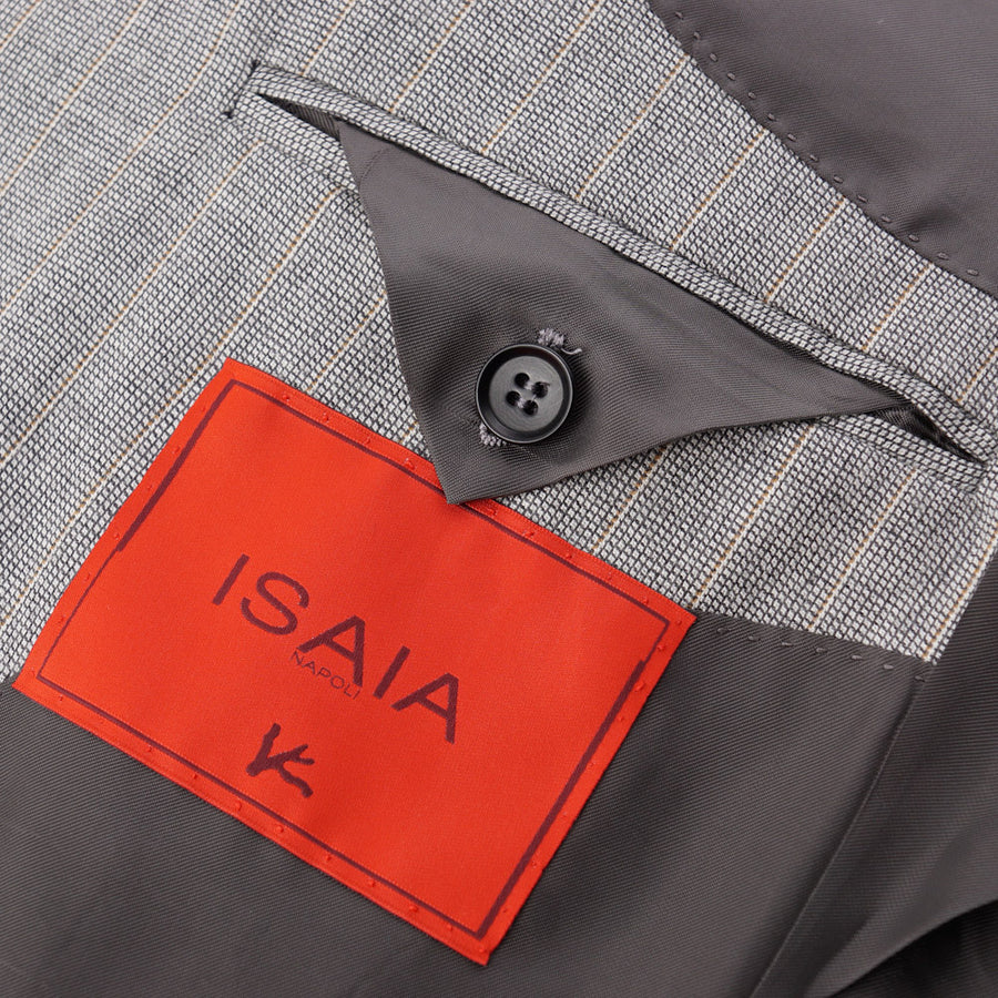 Isaia Light Gray Striped Super 130s Wool Suit - Top Shelf Apparel