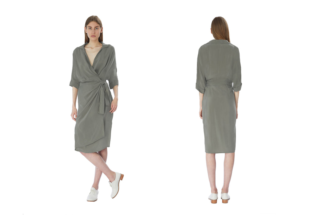WRAP DRESS IN SAGE GREEN