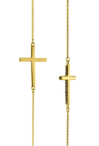 Design Black Stone Cross Double Pendant Guardian Scapular Gold Plated Necklace Yellow Jewelry Present From Barcelona Protecting Talisman Escapulario Gay For Man Unisex 2