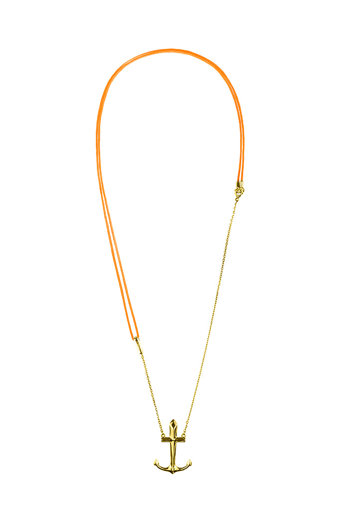 Design Anchor Pendant Gold Plated Necklace Colour Exchangeable 2 Materials Yellow Jewelry Present From Barcelona Gay For Man Unisex