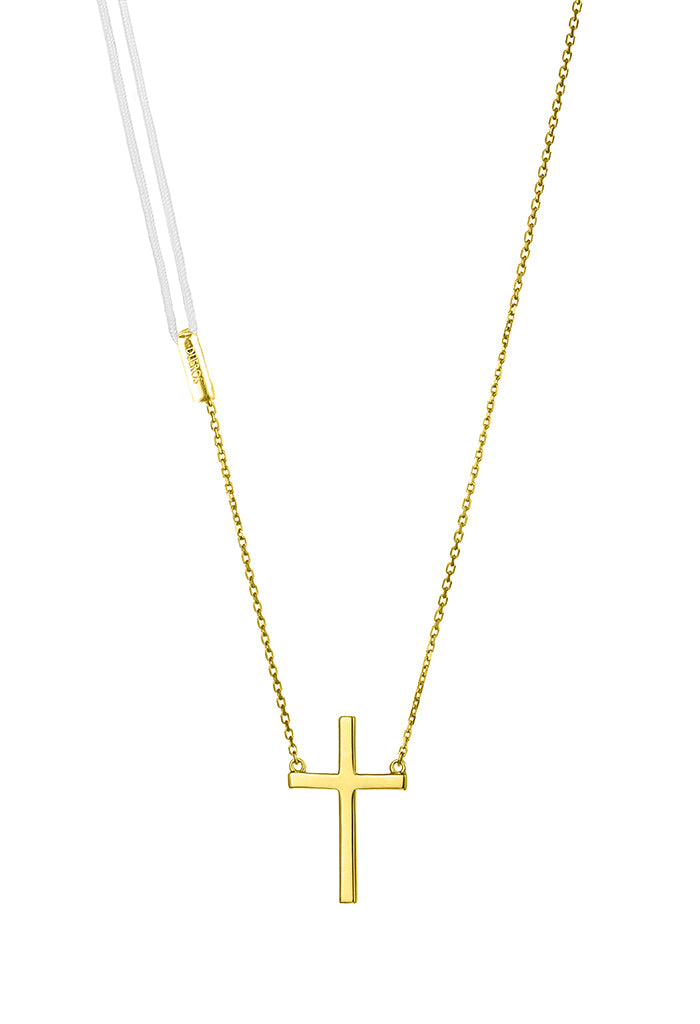 Design Cross Pendant Gold Plated Necklace Colour Exchangeable 2 Materials Yellow Jewelry Present From Barcelona Gay For Man Unisex Faith