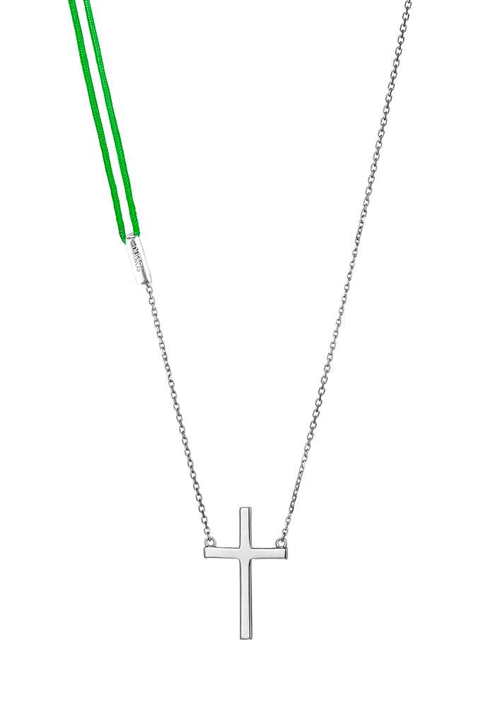 Design Cross Pendant Silver Necklace Colour Exchangeable 2 Materials 925 Sterling Jewelry Present From Barcelona Gay For Man Unisex Faith