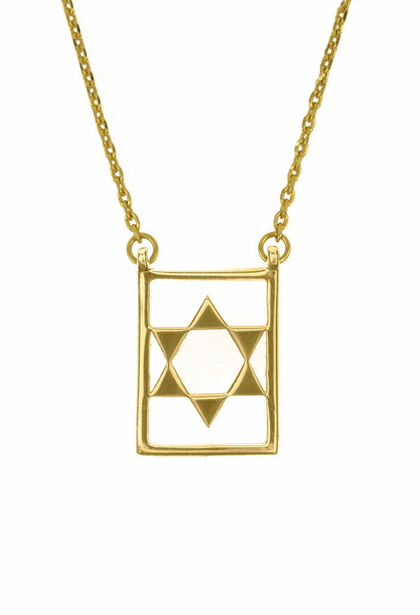 Design Star Of David Double Pendant Guardian Scapular Gold Plated Necklace Yellow Jewelry Present From Barcelona Protecting Talisman Escapulario Gay For Man Unisex 2