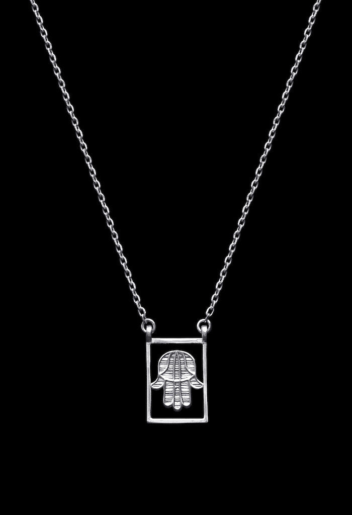 Design Hand Of Fatima Double Pendant Guardian Scapular Silver Necklace 925 Sterling Jewelry Present From Barcelona Protecting Talisman Escapulario Gay For Man Unisex 2 Hamsa