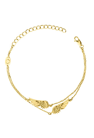 Design 2 Angel Wings Double Chain Bracelet Yellow Gold Plated Jewelry Present From Barcelona Gay For Man Unisex