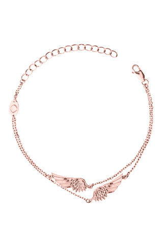 Design 2 Angel Wings Double Chain Bracelet Rose Gold Plated Jewelry Present From Barcelona Gay For Man Unisex