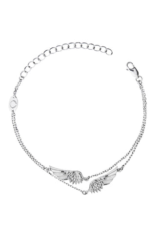 Design 2 Angel Wings Double Chain Bracelet 925 Sterling Silver Jewelry Present From Barcelona Gay For Man Unisex