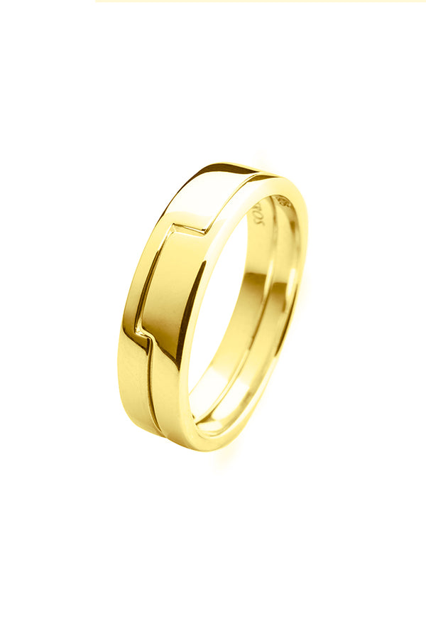 18k gold plated ring, gold plated ring consisting two parts,