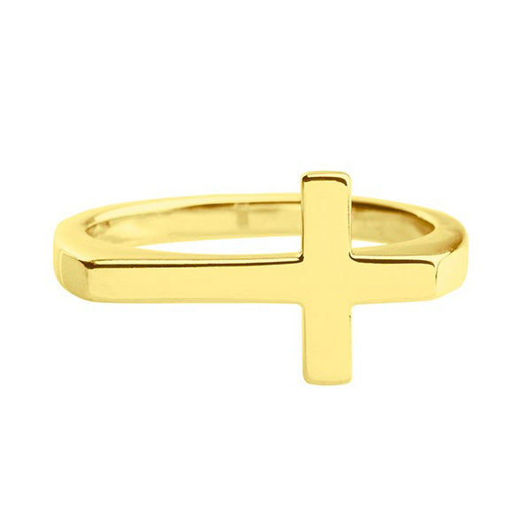 18k yellow gold plated ring with cross