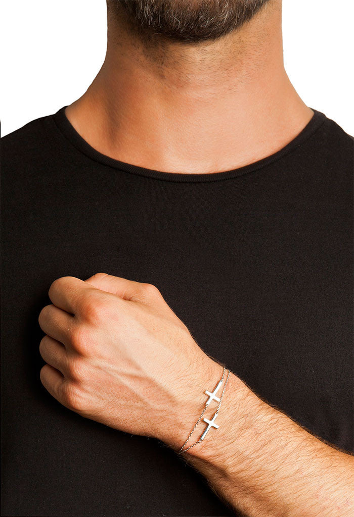 080b08542 Design 2 Cross Double Chain Bracelet 925 Sterling Silver Jewelry Present  From Barcelona Gay For Man