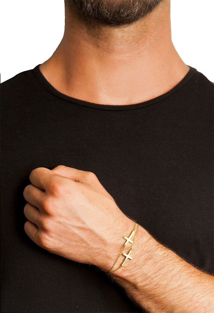 Design 2 Cross Double Chain Bracelet Yellow Gold Plated Jewelry Present From Barcelona Gay For Man Unisex