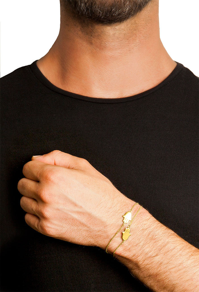 Design 2 Hand Of Fatima Double Chain Bracelet Yellow Gold Plated Jewelry Present From Barcelona Gay For Man Unisex Hamsa